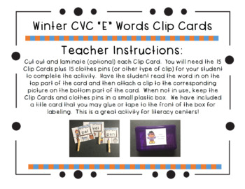 "Winter CVC ""E"" Words Clip Cards"