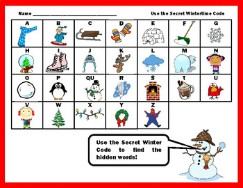 Winter CVC Find the Secret Words Activity