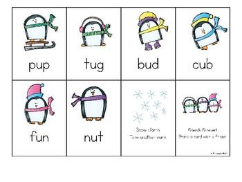 Winter CVC Fluency Game Owl Themed