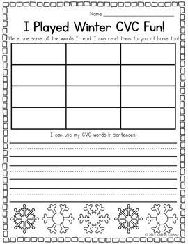 cvc game winter by kindergarten smiles caitlin clabby tpt. Black Bedroom Furniture Sets. Home Design Ideas