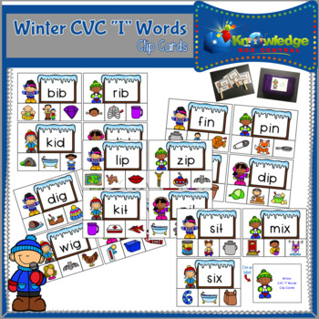 "Winter CVC ""I"" Words Clip Cards"