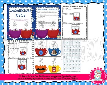 Winter CVC Literacy Bundle 3 Full Centers Rhyming, Write the Room