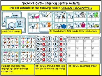 Winter- CVC Literacy Center- SNOWBALL CVC- Winter CVC Literacy Activities