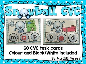 Winter- CVC Literacy Center- SNOWBALL CVC- Winter CVC Lite