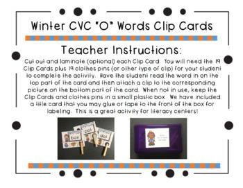"Winter CVC ""O"" Words Clip Cards"