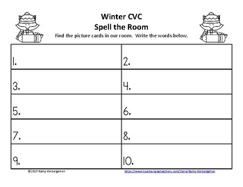 Winter CVC Spell the Room