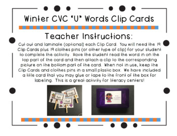 "Winter CVC ""U"" Words Clip Cards"