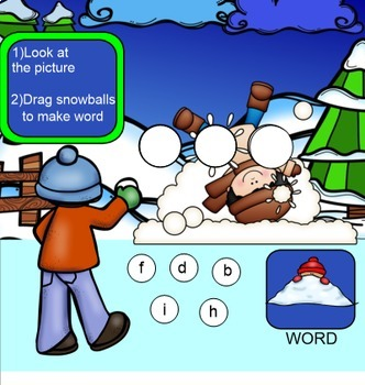 Winter CVC Word Fun for SMARTBOARD (Focus on Short i)