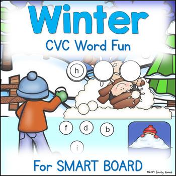 Winter CVC Word Fun for SMARTBOARD (Focus on Short i)