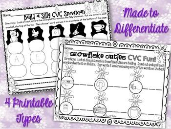 Winter CVC Word Work Printables