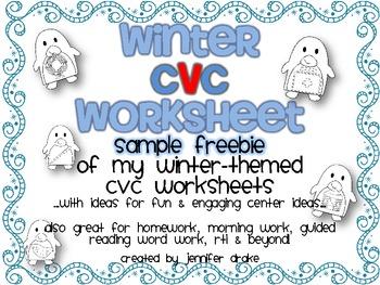 Winter CVC Worksheet for Centers, Morning Work, Homework, Etc! ~SAMPLER FREEBIE~