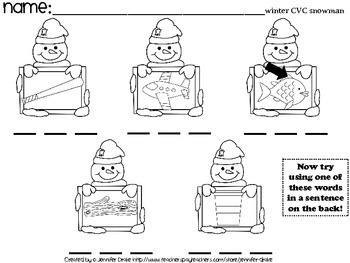 winter cvc worksheets 15 sheets for fun centers morning work homework etc. Black Bedroom Furniture Sets. Home Design Ideas