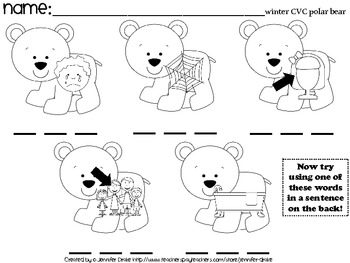 Winter CVC Worksheets! 15 Sheets for Fun Centers, Morning Work, Homework, Etc!