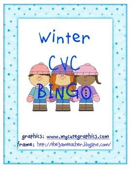 Winter CVC short a  BINGO