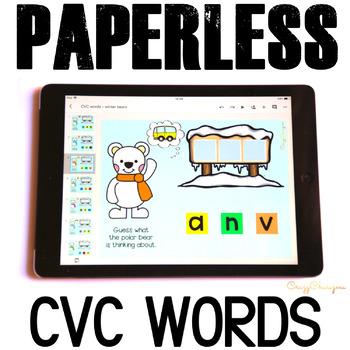 Google Classroom™ Activities Reading CVC words (winter polar bears)