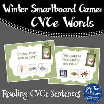 Winter CVCe Read the Sentence, Find the Picture for Smartboard/Promethean Board!