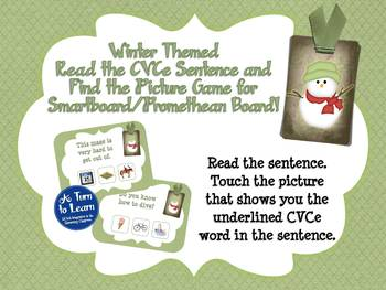 Winter Reading CVCe Sentences Game (Smartboard/Promethean Board)