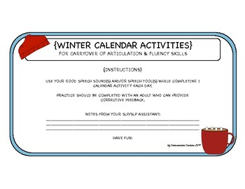 Winter Calendar Activities for Articulation & Speech Fluency
