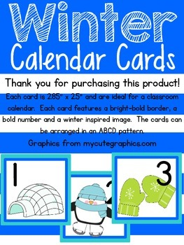 Winter Calendar Cards