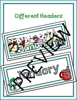 January Winter Calendar Cards and Header