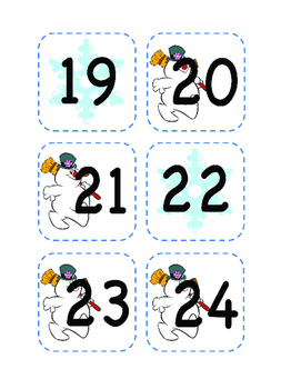 Winter Calendar Number Cut Outs