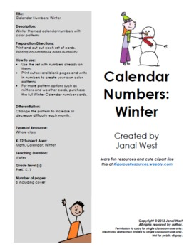 Winter Calendar Numbers and Months- Complete Set
