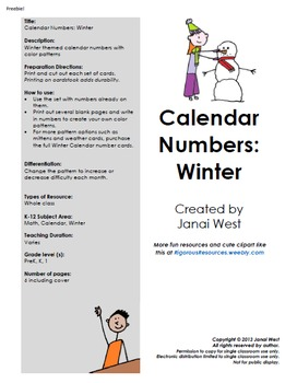 Winter Calendar Numbers and Months Freebie