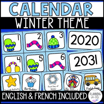 Winter Calendar Numbers for December January February