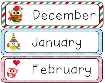 Winter Calendar Owls
