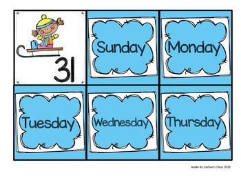 Winter Calendar Pieces -- AABB Pattern