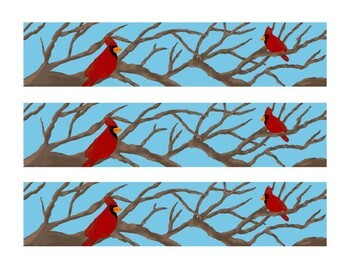 Winter Cardinal Tree Branches Bulletin Board Border Printable Full Color PDF