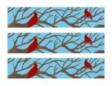 Winter Cardinal Tree Branches Bulletin Board Border Printable Full Color PDF