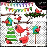 Winter Cardinals - Clip Art & B&W Set