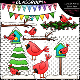 Winter Cardinals - Clip Art & B&W Set