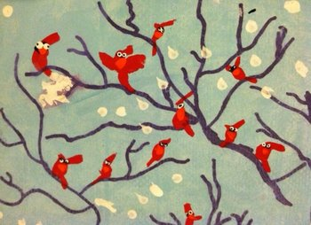 Expressive Winter Cardinals Art (PLUS VIDEO LINK)- Laughing Good Time for All!