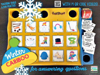 Winter Cariboo for WH- questions {plus 14 fun QR code videos of winter}