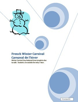 "Winter Carnival ""Carnaval"" playday Planning template french and english"