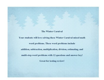 Winter Carnival math word problems test prep