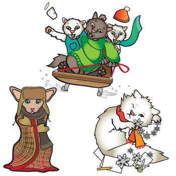 Winter Cats Freebie Clip Art Set