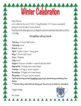 Winter Celebration Parent Letter *EDITABLE*