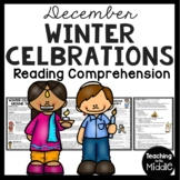 Winter Celebrations Around the World Reading Comprehension; Christmas; Hanukkah