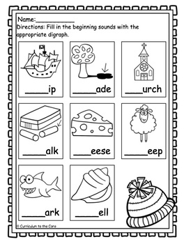 Winter Center ~ Snowing Digraphs Ch/Sh/S/C