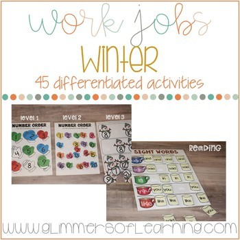 Winter Centers, Small Group and TEACCH/Work Jobs