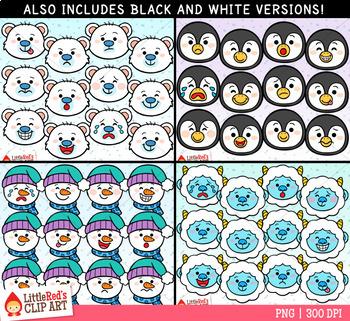 Winter Character Faces Emoji Clip Art Bundle