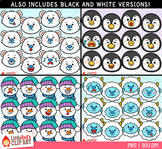 Winter Character Faces Emoji Clip Art Bundle