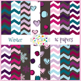 Winter Chevron and Doodle Papers