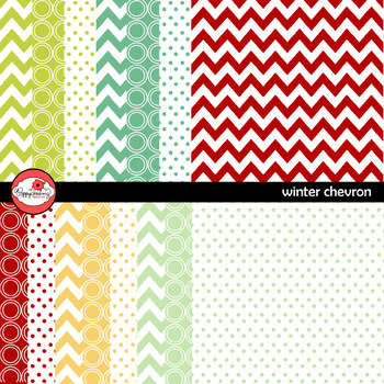 Winter Chevron and Dots Digital Paper by Poppydreamz
