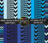 Winter Digital Papers Chevron on Black {Commercial Use Digital Graphics}