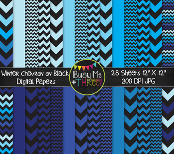 Winter Chevron on Black Digital Papers {Commercial Use Dig