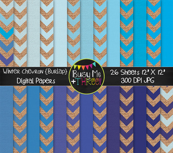 Winter Chevron on Burlap Digital Papers {Commercial Use Di